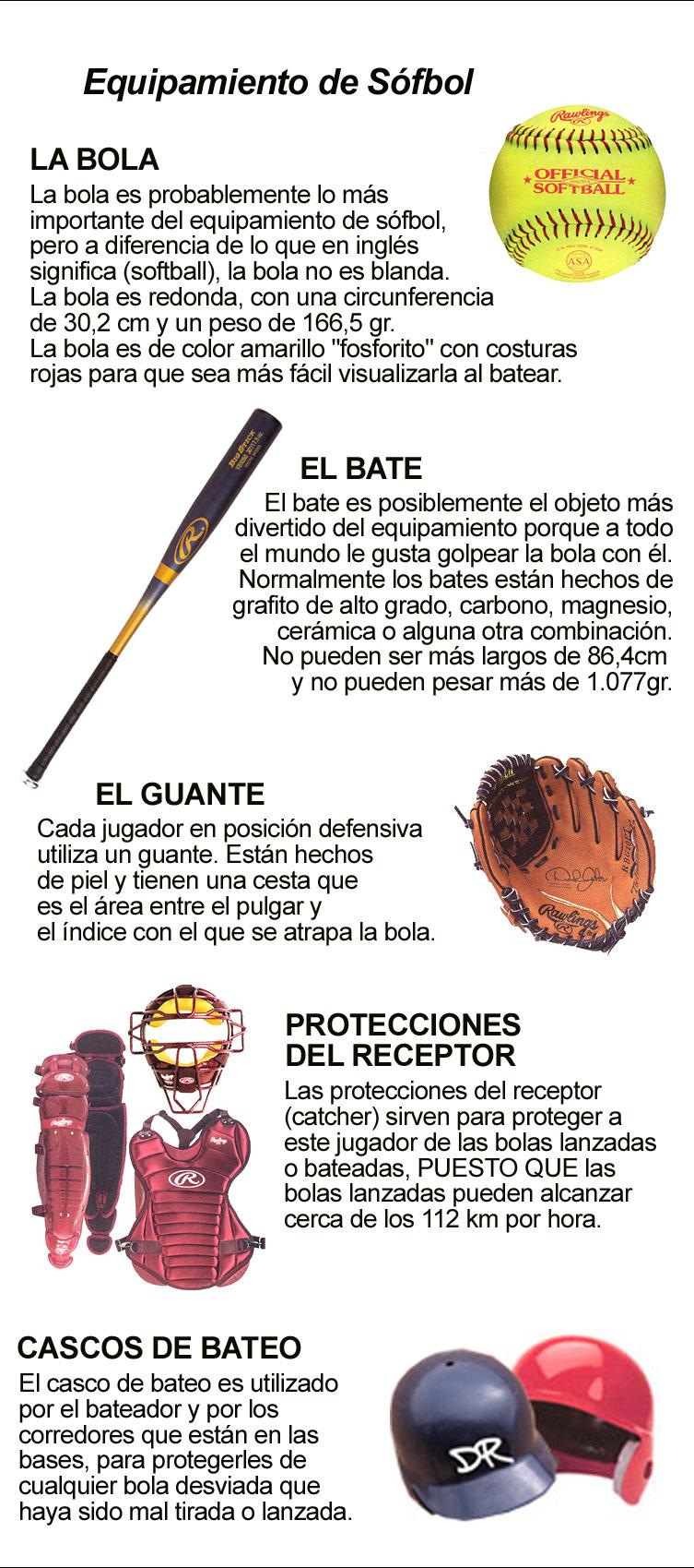 EQUIPAMIENTO DE SÓFBOL: BOLA, GUANTE, BATE, PROTECCIONES, CASCOS