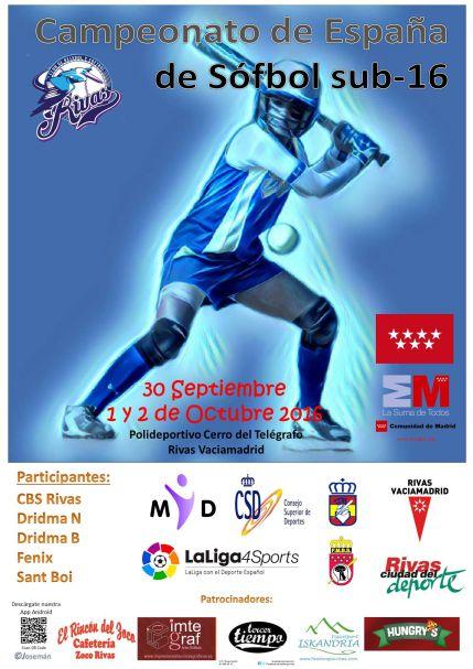 Del 30 de septiembre al 2 de octubre: Campeonato de España Sófbol Femenino Sub-16 de Clubes en Rivas #Sub16Sofbol2016