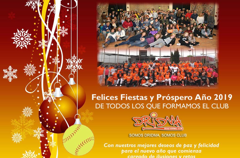 EL CLUB DRIDMA-RIVAS DE SÓFBOL OS DESEA FELICES FIESTAS Y UN PRÓSPERO AÑO 2019