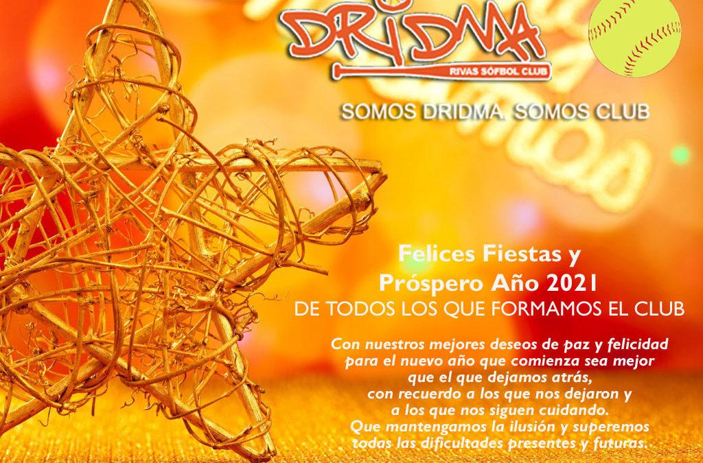 El club Dridma Rivas les desea felices fiestas y un mejor año 2021